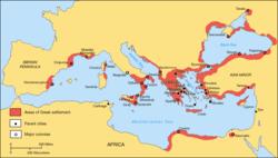 Kart over greske kystbyer i hele Middelhavet og Svartehavet