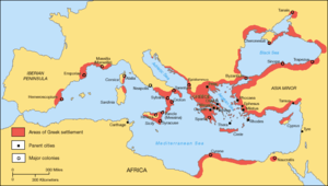 Hellenization - A map showing the Greek territories and colonies during the Archaic period.