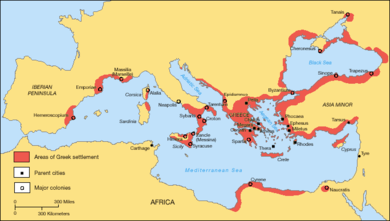 Greek territories and colonies during the Archaic period (750-550 BC) Greek Colonization Archaic Period.png