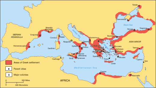 Greek territories and colonies during the Archaic period (750–550 BC) Greek Colonization Archaic Period.png