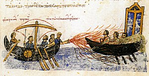 Greek fire - A Byzantine ship uses Greek fire against a ship of the rebel, Thomas the Slav, 821. 12th century illustration from the Madrid Skylitzes