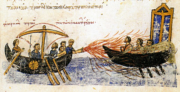 Greek fire, used by the Byzantine navy to destroy the Arab fleets at the 717–718 Siege of Constantinople. Illustration from a 12th-century illuminated manuscript (Madrid Skylitzes)