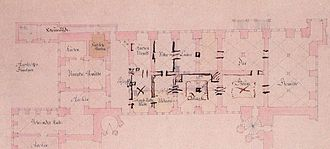 Grünes Gewölbe - Ground plan from 1727 with handwritten notes by Augustus the Strong marking his intentions