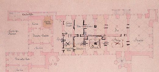Ground plan from 1727 with handwritten notes by Augustus the Strong marking his intentions GreenVault 1727.jpg