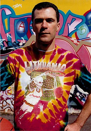 "New York artist Greg Speirs wearing the ""Skully"" tie-dyed T-shirt which he designed and became a symbol of Lithuanian basketball Greg Speirs (image).jpg"