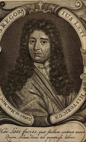 "Gregorio Leti - Portrait of Gregorius Leti published in his ""Vita di Don Pietro Giron duca d Ossuna"", Volume 2, 1699"