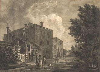 "Thomas Hearne (artist) - Greystoke castle, Cumbria (engraving from ""Antiquities of Great Britain"")"