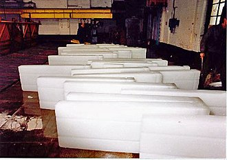 Icemaker - Slabs of manufactured ice at the Grimsby Ice Factory prior to being crushed, 1990