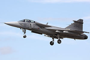 Swedish Air Force -  A Swedish JAS39 taking off at the RIAT 2009