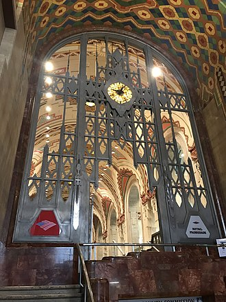 Monel - The Art Deco gate in the entrance hall of the Guardian Building is made from Monel metal.
