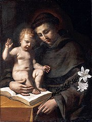 The iconic image of Saint Anthony, with book of Scripture, Christ Child, and the lily of the Annunciation, rendered by Guercino, 1656