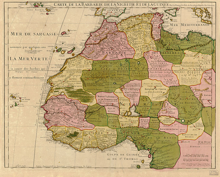 Map Of Africa 1700.File Guillaume Delisle North West Africa 1707 Jpg Wikimedia Commons