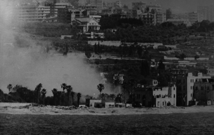 An Israeli bombardment of a PLO position on the Lebanese coast GunfireTarget5-17June1982.png
