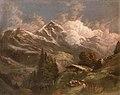 Gustav Barbarini - Belebte Hochalm mit Blick auf Alpengipfel (1858).jpg