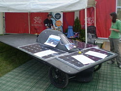 "The solar powered car ""Gwawr"" (Dawn), the Welsh entry in the October 2007 Darwin-Adelaide Trans-Australia competition, is an example of what can be exhibited on the Eisteddfod Maes. (Mold, 2007)"