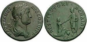 Achaea (Roman province) - Sestertius of Hadrian celebrating Achaea province.