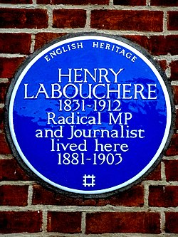 Henry labouchere 1831 1912 radical mp and journalist lived here 1881 1903