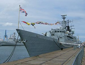 HMS Cornwall (F99) - HMS Cornwall alongside and dressed overall at Zeebrugge, Belgium, July 2006