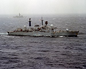 HMS Coventry (D118) underway in the Atlantic Ocean, circa in 1981 (6417242).jpg