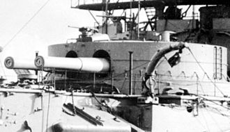 HMS Hood (1891) - The forward 13.5-inch (343-mm) gun turret on Hood