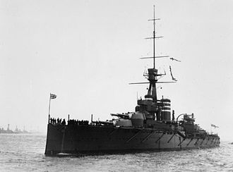 HMS Thunderer (1911) - Thunderer at Spithead, late 1912; the gunnery director is barely visible