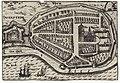 HUA-200148-Plattegrond van Wijk bij Duurstede en de Rijn uit het zuidoosten; met weergave van het stratenpatroon met de gestileerde bebouwing en de stadsmuur met.jpg