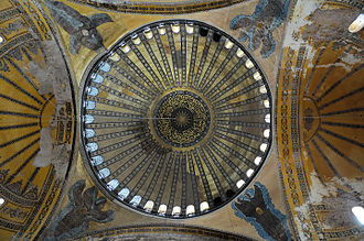 The hexapterygon (six-winged angel) on the north-east pendentive (upper left), whose face was discovered and recovered by the Fossati brothers, uncovered in 2009 (annotations). HagiaSophia Dome (pixinn.net).jpg