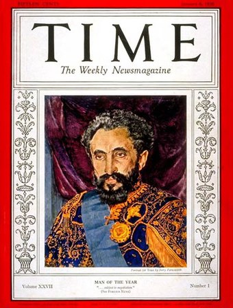 Haile Selassie's resistance to the Italian invasion of Ethiopia made him Man of the Year in 1935 by Time magazine. Haile Selassie Time cover 1936.jpg