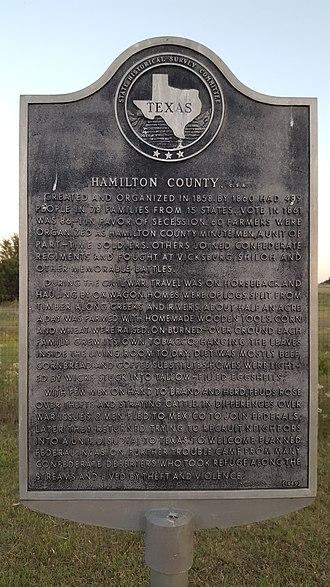 Hamilton County, Texas - Image: Hamilton County Historical Marker