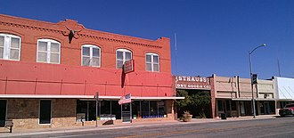 Hamlin, Texas - Strauss Dry Goods Co. storefront, which has been converted into a public park, and adjoining building