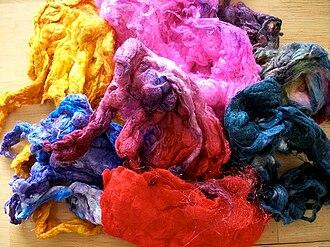 Noil - Hand-dyed silk noil