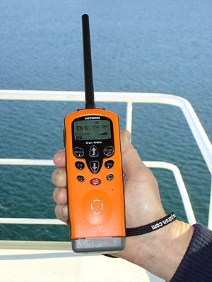 Marine VHF radio - A standard handheld maritime VHF, mandatory on larger seagoing vessels under the GMDSS rules