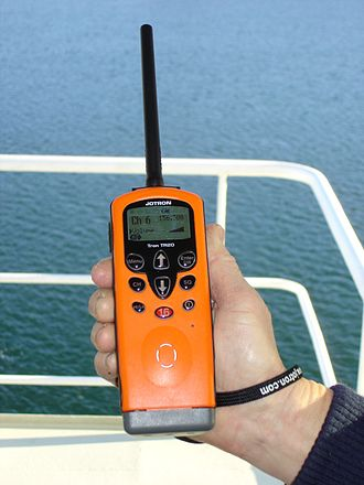 Marine VHF radio - A standard handheld marine VHF, mandatory on larger seagoing vessels under the GMDSS rules