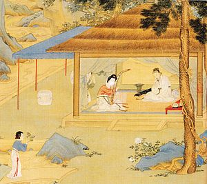 Konghou - Woman playing konghou, details of a painting by Qiu Ying, Ming Dynasty.