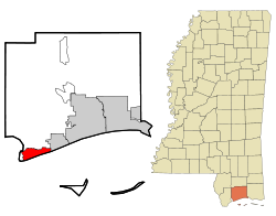 Harrison County Mississippi Incorporated and Unincorporated areas Pass Christian Highlighted.svg