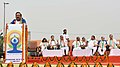 Harsh Vardhan addressing the participants, on the occasion of the 4th International Day of Yoga -2018, at Rajpath, in New Delhi.JPG
