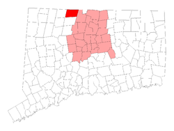 Location in Hartford County, Connecticut.