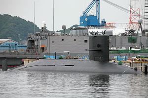 Harushio class submarine docked.JPG