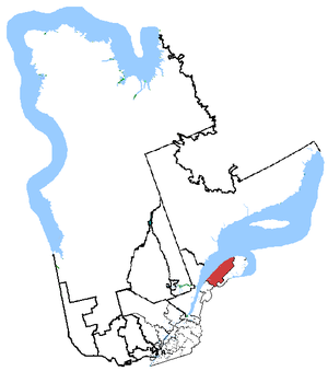 Haute-Gaspésie—La Mitis—Matane—Matapédia - Haute-Gaspésie—La Mitis—Matane—Matapédia in relation to other Quebec federal electoral districts