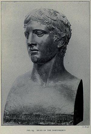 Doryphoros - Head of Doryphoros excavated at the Villa of the Papyri.