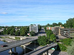 A view from Heinola railway bridge towards the town center