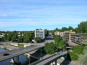 Heinola - A view from Heinola railway bridge towards the town center