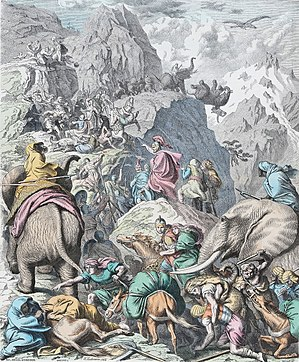 Punic Wars - Depiction of Hannibal and his army crossing the Alps during the Second Punic War