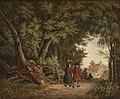 Heinrich Stuhlmann - Romantischer Waldweg mit Figurenstaffage und Durchblick auf Kirchlein.jpg