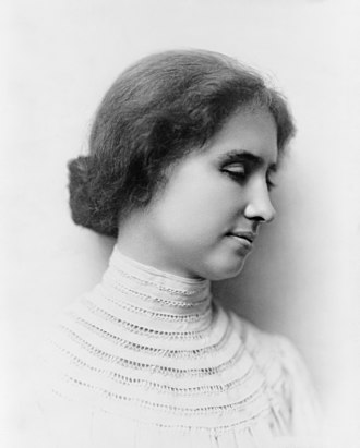 "Helen Keller - Helen Keller portrait, 1904. Due to a protruding left eye, Keller was usually photographed in profile. Both her eyes were replaced in adulthood with glass replicas for ""medical and cosmetic reasons""."
