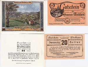 Heller (money) - Bills of 80 and 20 Hellers from 1920 and 1921.