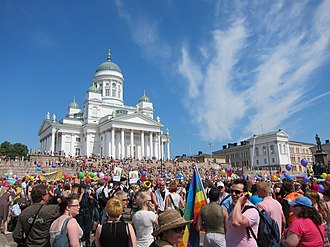 People gathering at the Senate Square, Helsinki, right before the 2011 Helsinki Pride parade started. Helsinki Pride Parade I (5897488480).jpg
