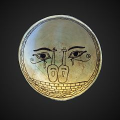 hemispherical cup ornated with Egyptian hieroglyphs