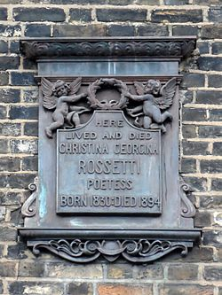 Here lived and died christina georgina rossetti poetess born 1830 died 1894