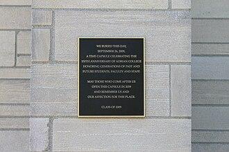 Time capsule - Herrick Tower time capsule, Adrian College, Michigan, 2009–2059.